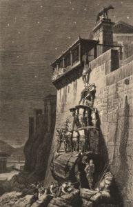 Charles Roberts: Die Rettung des Kapitols durch die heiligen Gänse der Juno. Holzschnitt nach einem verschollenen Gemälde von Henri Paul Motte (1883).